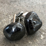 Hematite Cufflinks, tumbled stone cuff links
