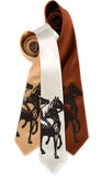 Horse print tie. Espresso ink on honey, cream, cinnamon.