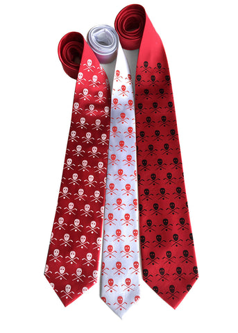 Hockey necktie. Stick, mask & puck silk tie