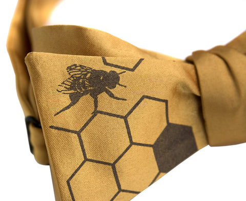"Honeybee Bow Tie. ""Oh Honey!"" Bee Hive print."