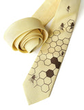 Butter Yellow Honey Bee Linen Necktie. Honeycomb Print Tie, by Cyberoptix