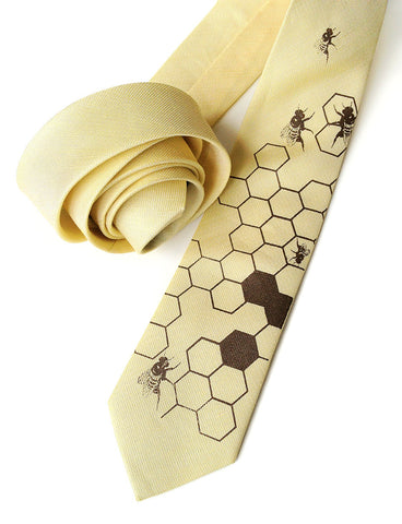 Honey Bee Linen Necktie. Honeycomb Print Tie