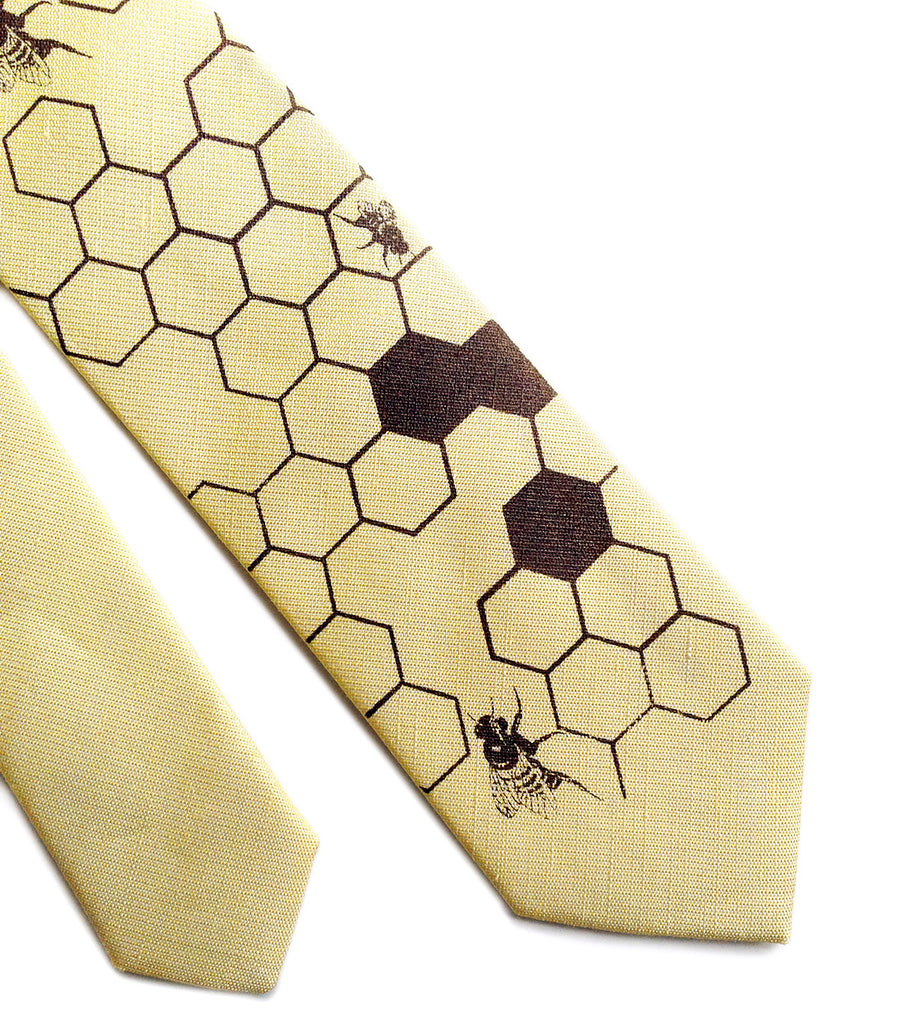 Brand-new Honey Bee Linen Necktie. Honeycomb Print Tie, by Cyberoptix HT04