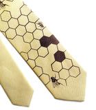 Pastel Yellow Honey Bee Linen Necktie. Honeycomb Print Tie, by Cyberoptix