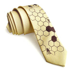 Pale Yellow Honey Bee Linen Necktie. Honeycomb Print Tie, by Cyberoptix