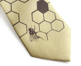 Butter and Chocolate Honey Bee Linen Necktie. Honeycomb Print Tie, by Cyberoptix