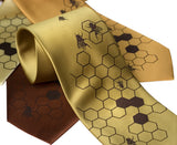 Honeybee Neckties by Cyberoptix: Chocolate on gold, mustard, cinnamon.
