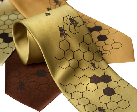"Honey Bee Necktie. Bee Hive ""Oh Honey"" honeycomb tie"