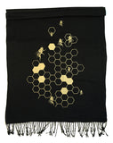 Black and gold Bee Hive pashmina scarf
