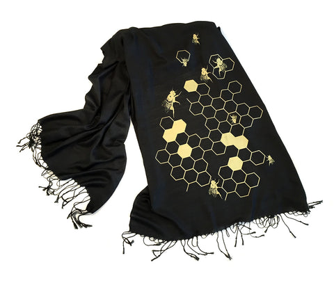 Honey Bee Scarf. Beehive linen-weave Pashmina