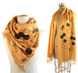 Honey Bee scarf, mustard yellow