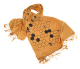Honey Bee pashmina scarf, mustard yellow