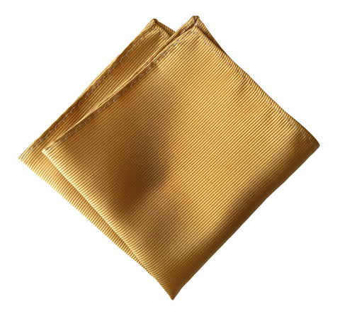 Honey Gold Pocket Square. Solid Color Fine-Stripe, No Print