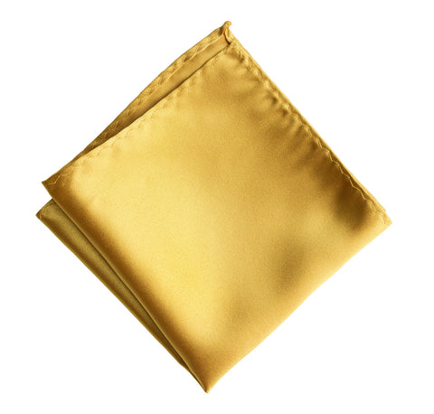 Honey Gold Pocket Square. Yellow Solid Color Satin Finish, No Print
