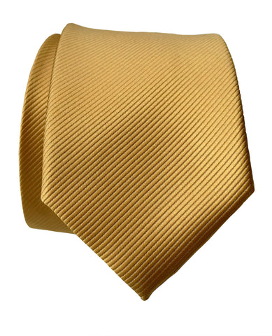 Honey Gold Necktie. Solid Color Fine-Stripe Tie, No Print
