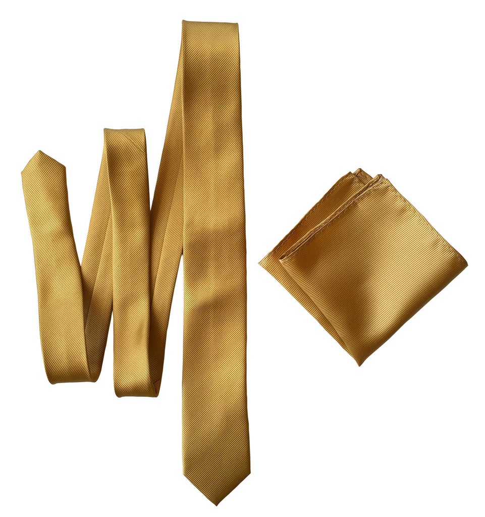 Honey Gold Pocket Square. Solid Color Fine-Stripe Hanky