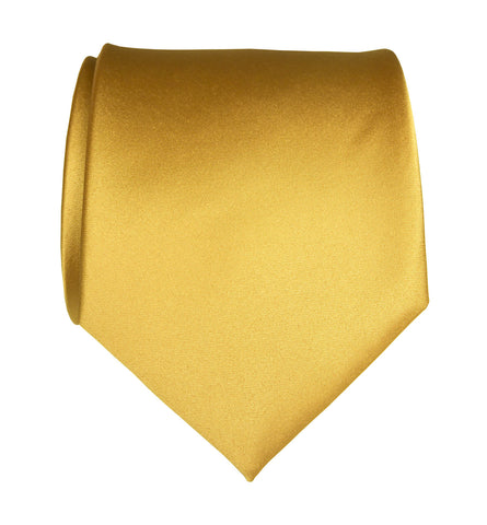 Honey Gold Necktie. Yellow Solid Color Satin Finish Tie, No Print