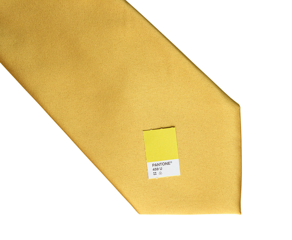 honey gold necktie yellow solid color satin finish tie no print