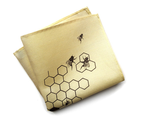 "Honey Bee linen pocket square. ""Oh Honey!"""