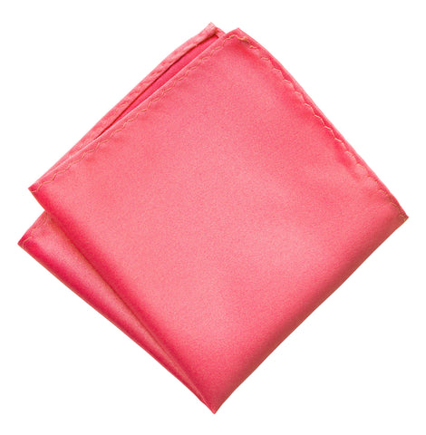 Honeysuckle Pink Pocket Square. Medium Pink Solid Color Satin Finish, No Print