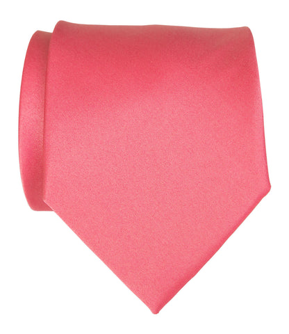 Honeysuckle Pink Necktie. Medium Pink Solid Color Satin Finish Tie, No Print