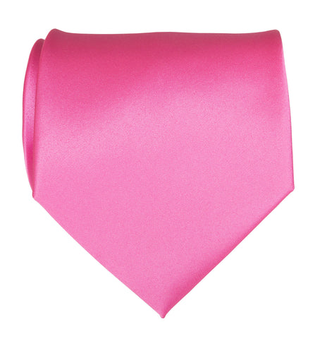 Hot Pink Necktie. Solid Color Satin Finish Tie, No Print