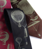 Hot Air Balloons Tie. Antique brass on black, dark brown, burgundy