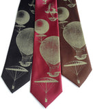 Hot Air Balloons Silk Necktie. Antique brass on black, dark brown, burgundy