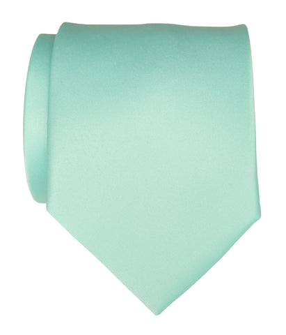 Ice Blue Necktie. Solid Color Satin Finish Tie, No Print
