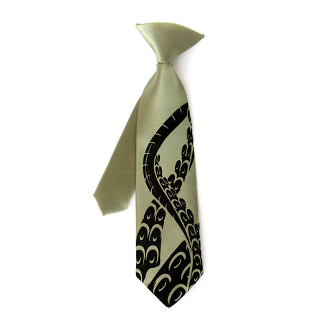 "Octopus Tentacles kids tie. ""Little Sucker"" boys necktie."