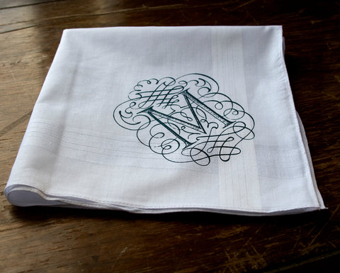 Initial Pocket Square. White Cotton Personalized Handkerchief