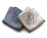 Initials A and M, linen pocket squares.