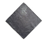 "Initial Pocket square: letter ""R"" ice print on charcoal linen."