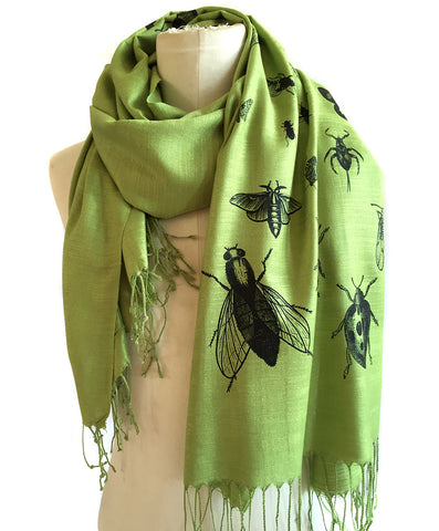 Insect Scarf. Bug print linen weave pashmina