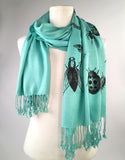 mint green insect scarf