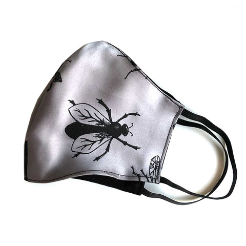 Bee Fly Face Mask. Insect Print, adjustable fabric face cover