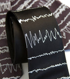 Brainwaves Neckties. White print on charcoal & black ties.