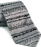 Silver Brainwaves mens necktie.