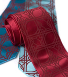 Crimson ink on crimson, turquoise, aqua. Standard width silk.