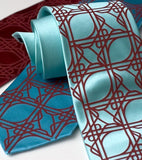 Crimson ink on aqua, crimson, turquoise. Standard width silk.