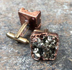 Pyrite Cufflinks. Electroformed copper & fool's gold cluster, raw stone cuff links