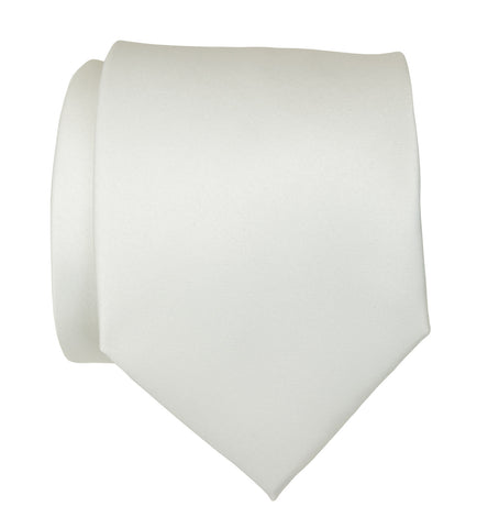 Ivory Necktie. Light Grey Solid Color Satin Finish Tie, No Print