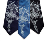 Jellyfish necktie. Navy, french blue & black ties.