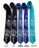 Jellyfish neckties, Ice blue print.