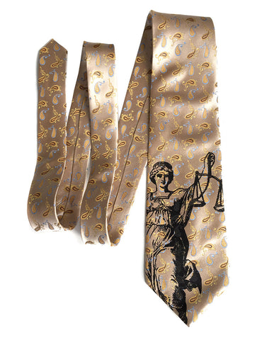 Scales of Justice Tie, Limited Edition Pale Gold Luxe Silk