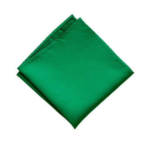 Kelly Green Pocket Square. Medium Green Solid Color Satin Finish, No Print