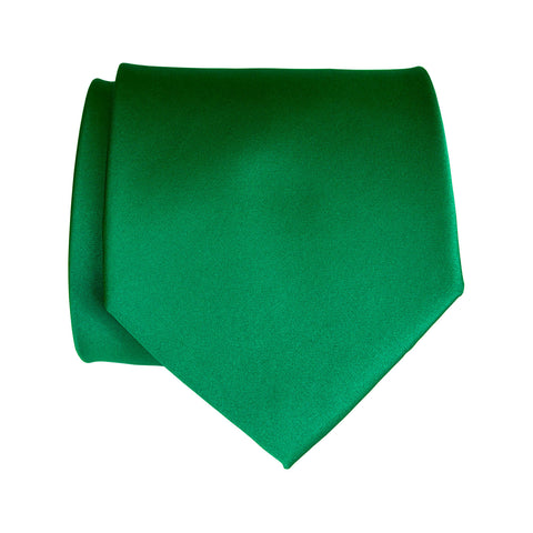 Kelly Green Necktie. Medium Green Solid Color Satin Finish Tie, No Print