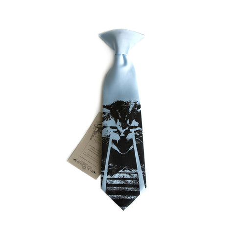 Angry Laser Kitten kids tie. Boys clip-on cat necktie.