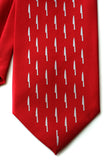 red silk kitchen knife print tie
