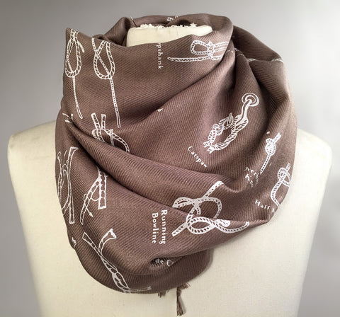 Knot Tying Diagram scarf. Boy Scout Knots pashmina.